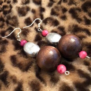 Jewelry - Custom Island Wood Pink Silver Earrings